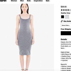 NWOT American Apparel Gray Ponte Tank Dress